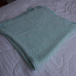 Hand knitted Green and White Baby Blanket